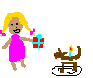 Blond girl with Birthday present with Cake   dog