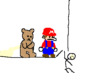Mario & teddy watch stickman escaping the panel