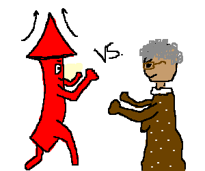 Arrow boy vs. brown dress grandma with glasses