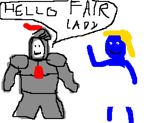 knight meets a blue lady.