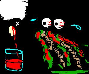 Man vomits intestines after drinking sheep blood
