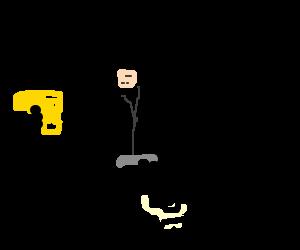 James Bond on a skateboard wielding golden PP7