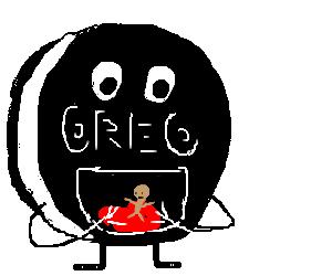Man gets eaten by giant Oreo