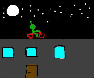 Crazy alien cycling on bulidings during night!!