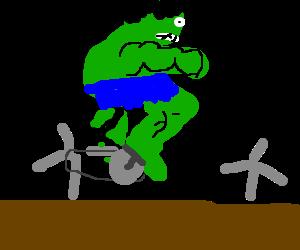 Hulk riding a bike
