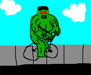 The Hulk riding a bicycle