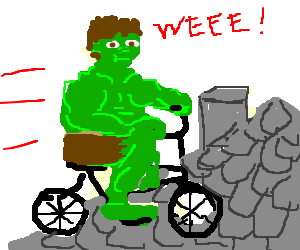 hulk ride a bicycle on a grey slate roof