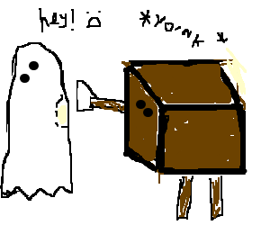 Cardboardman takes Ghost pieces.