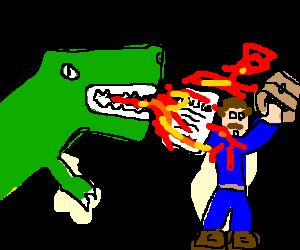 Fire breathing T-rex burns Insurance salesman.