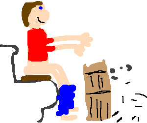A man plays a drum for a sheep whilst pooing