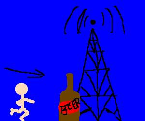 man runs to get hammered at radio tower