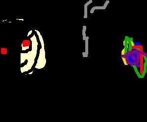 Person at w/glasses at computer w/ bong smoking