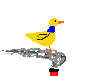 Yellow duck with a blue neck sits on smoke