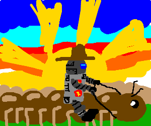 Sci-fi android cowboy rides badass multipede.