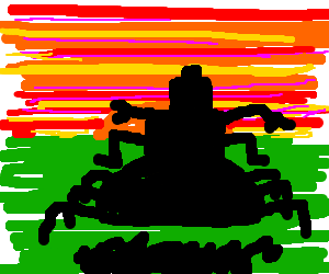 Robot rides off into sunset on giant bug