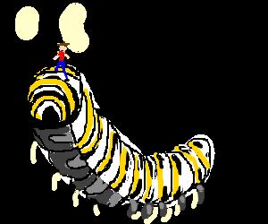 Man rides a caterpillar