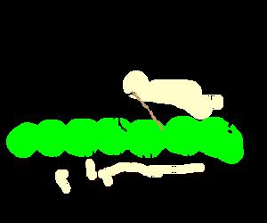 a little person riding a catapillar