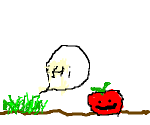 Grass greets a happy apple