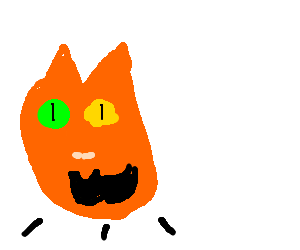 Floating cat head with green & yellow eyes