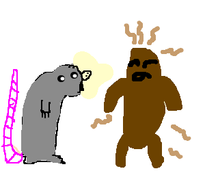 Rat sniffing an anthropomorphic lump of poop