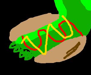 Godzilla wears hotdogs for arm protection