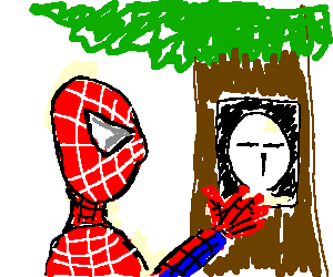 Spiderman putting a poster on a tree with t-face