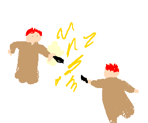 fred and george weasley fighting with lightning