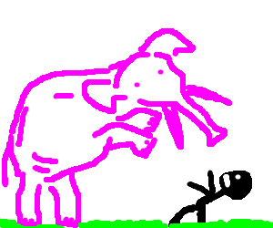 Pink elephant assaults man