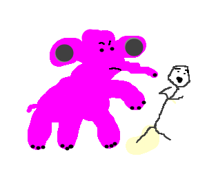 man under attack by misshapen pink elephant