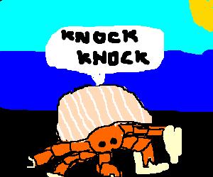 hermit crab telling a joke