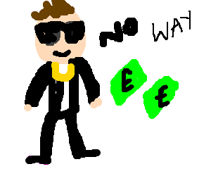 Stylized man firmly refuse cash