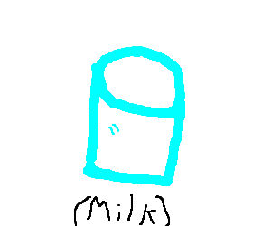 A well drawn glass of milk