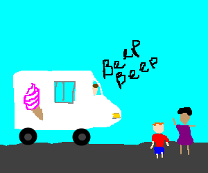 Ice-cream truck driver honks at kids