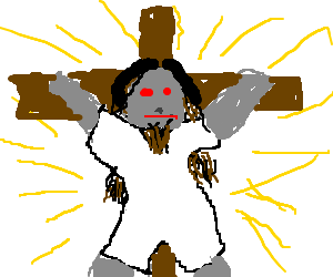 Robot Goatee Jesus resurrects on the third day