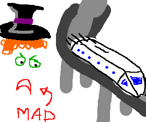 The Mad Hatter swears at a monorail