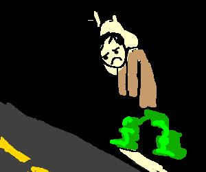 Jello-legged man wants to cross street but can't
