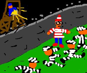 Waldo drunkenly wanders into a prison break.