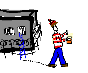 Waldo drinking juice after escape from prison