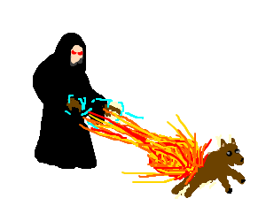 evil wizard casting fireball on pet dog
