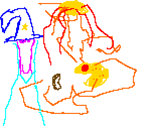 Wizard watches PacMan eat BertyBott bean at noon