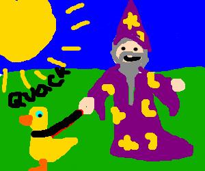 Wizard is taking his duck outside in the sun