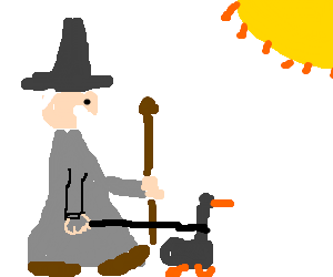 a wizard takes a duck for a walk on a sunny day