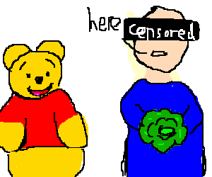 Censored man gives cabbage as pooh watches