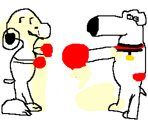 Brian Griffin Vs Snoopy Theyre Boxing Drawing By Gareth6568