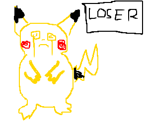 "Crying Pikachu shows the ""Loser"" sign"