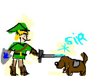 Link knighting a dog.