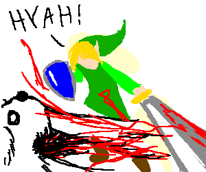 Link attacking a dog with the Master Sword