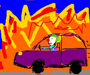 a clown driving a car through fire