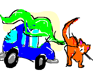 Cat farting green fumes over car