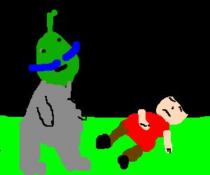 Blue-mustached aliens spot man sleeping in grass